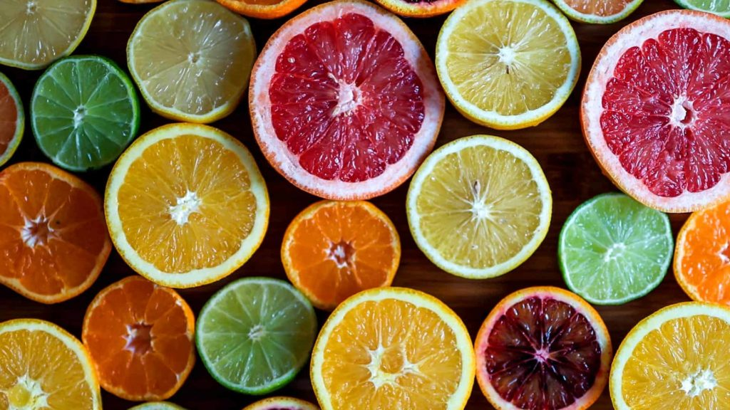 fruits that have citrus in them such as oranges, grapefruit, lemons and limes